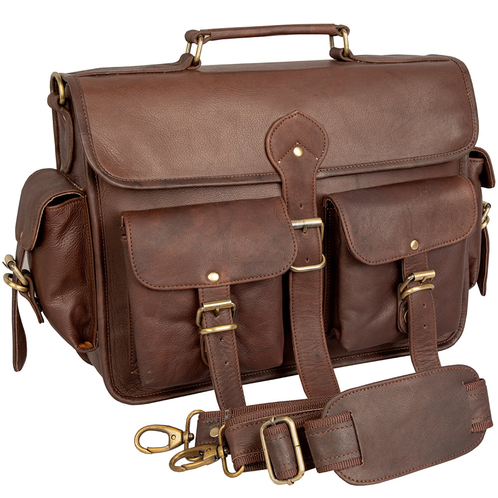 Leather Briefcase Messenger Bag for 15 Inch Laptop