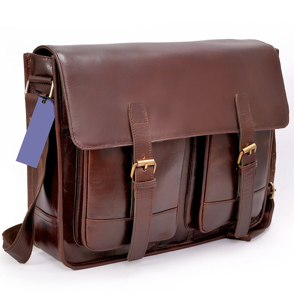 Buffalo Leather Messenger Office Bag with 2 Pockets