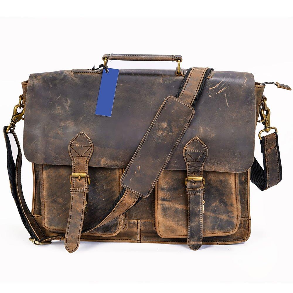 Hunter Buffalo Leather Laptop Messenger Bag with 2 Pockets