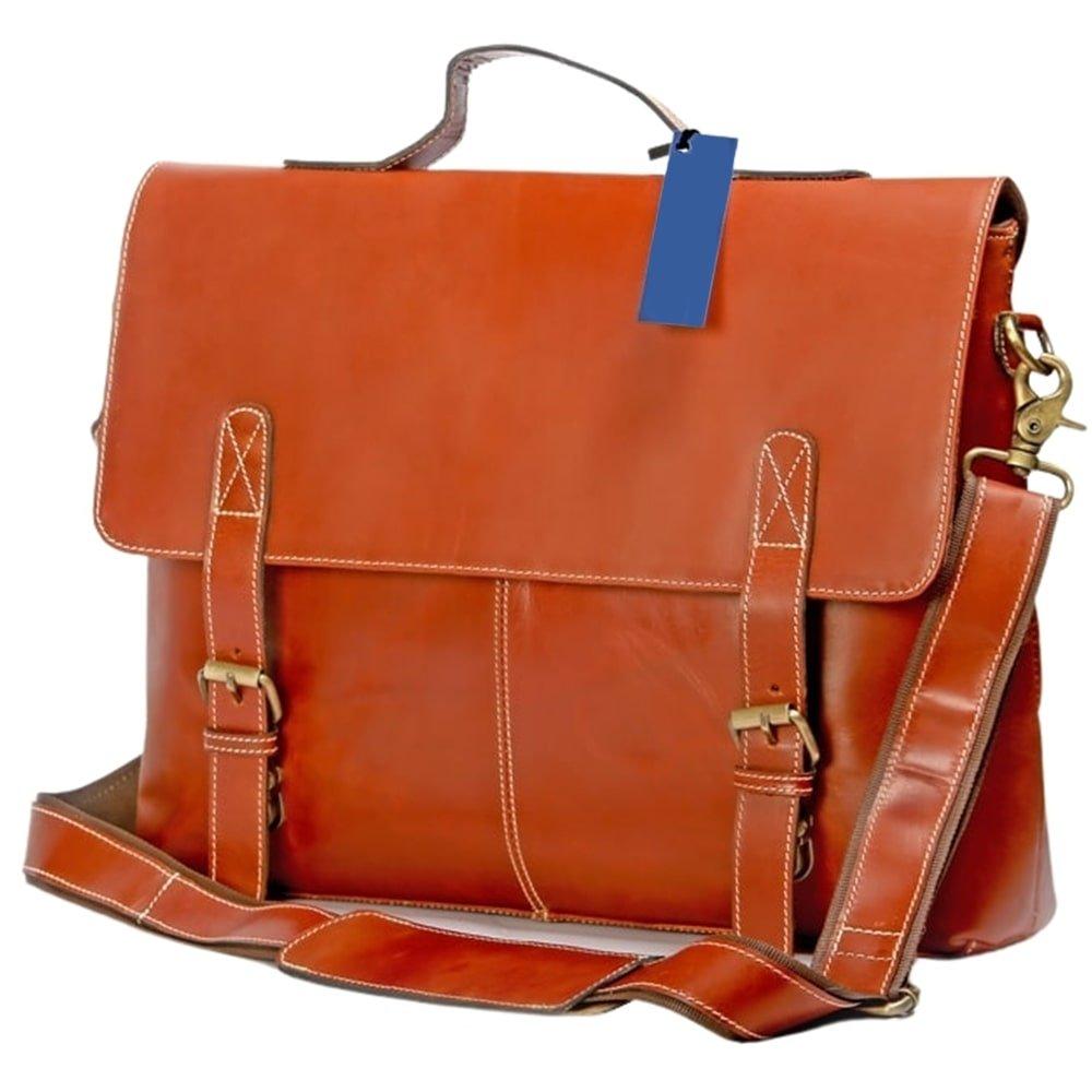 handmade orange buffalo laptop messenger bag 1